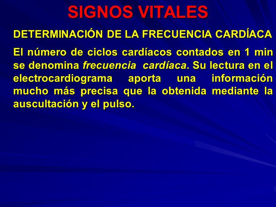 SIGNOS VITALES DETERMINACIÓN DE LA FRECUENCIA CARDÍACA