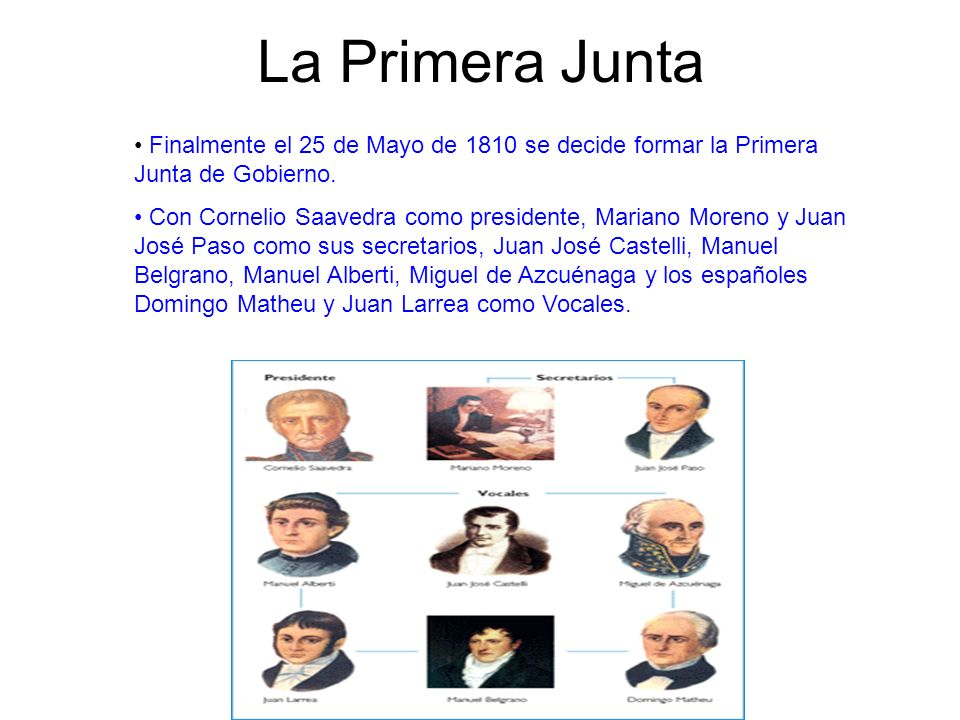 La Primera Junta Finalmente el 25 de Mayo de 1810 se decide formar la Primera Junta de Gobierno.
