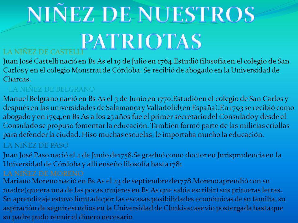 NIÑEZ DE NUESTROS PATRIOTAS