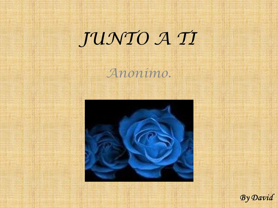 JUNTO A TI Anonimo. By David