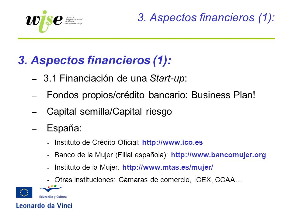 3. Aspectos financieros (1):