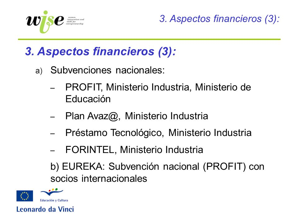 3. Aspectos financieros (3):