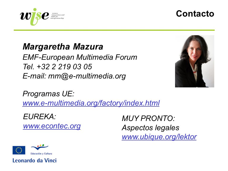 Contacto Margaretha Mazura EMF-European Multimedia Forum