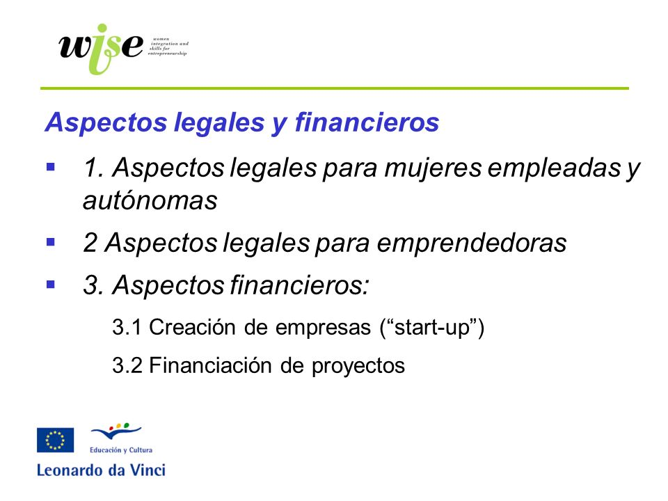 Aspectos legales y financieros
