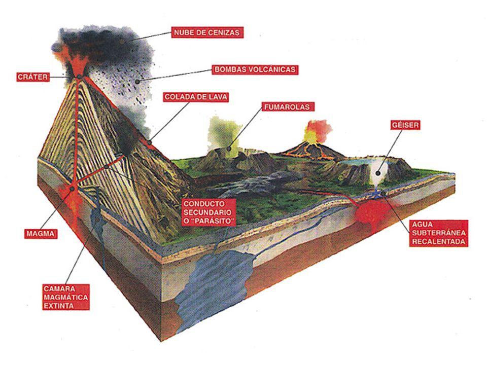 En la parte inferior del volcán por el interior de la tierra esta la cámara magmática en donde se encuentra el magma mas arriba esta la chimenea y las chimeneas secundarias finalmente las chimeneas1 primaria y ½ secundarias en el momento de la erupción se forma la fumarola ( nube de ceniza )