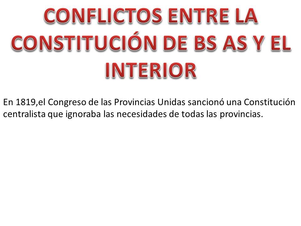 CONFLICTOS ENTRE LA CONSTITUCIÓN DE BS AS Y EL INTERIOR