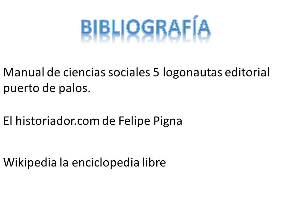 bibliografía Manual de ciencias sociales 5 logonautas editorial puerto de palos. El historiador.com de Felipe Pigna.