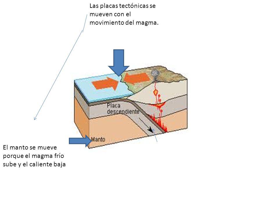 Las placas tectónicas se mueven con el movimiento del magma.