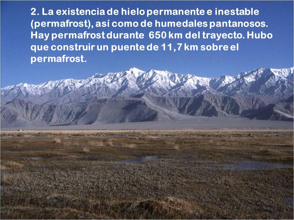 2. La existencia de hielo permanente e inestable (permafrost), así como de humedales pantanosos.