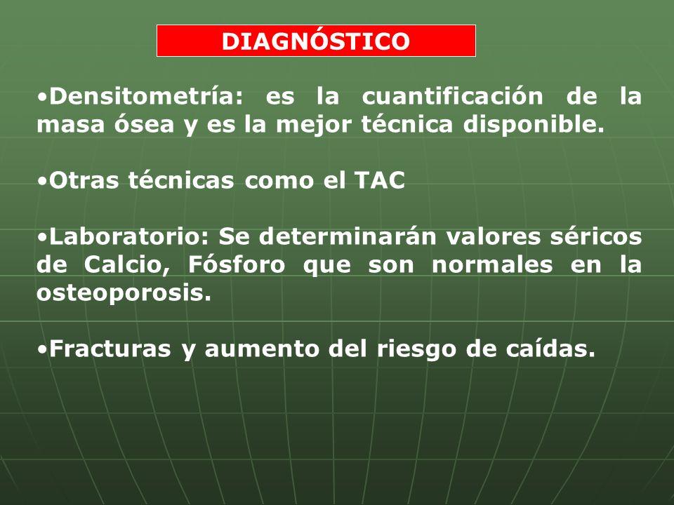 DIAGNÓSTICO Densitometría: es la cuantificación de la masa ósea y es la mejor técnica disponible. Otras técnicas como el TAC.