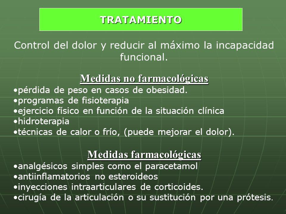 Medidas no farmacológicas Medidas farmacológicas