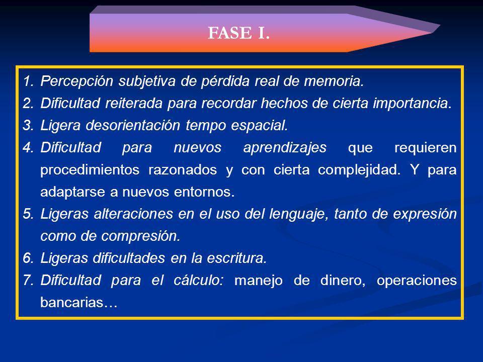 FASE I. Percepción subjetiva de pérdida real de memoria.