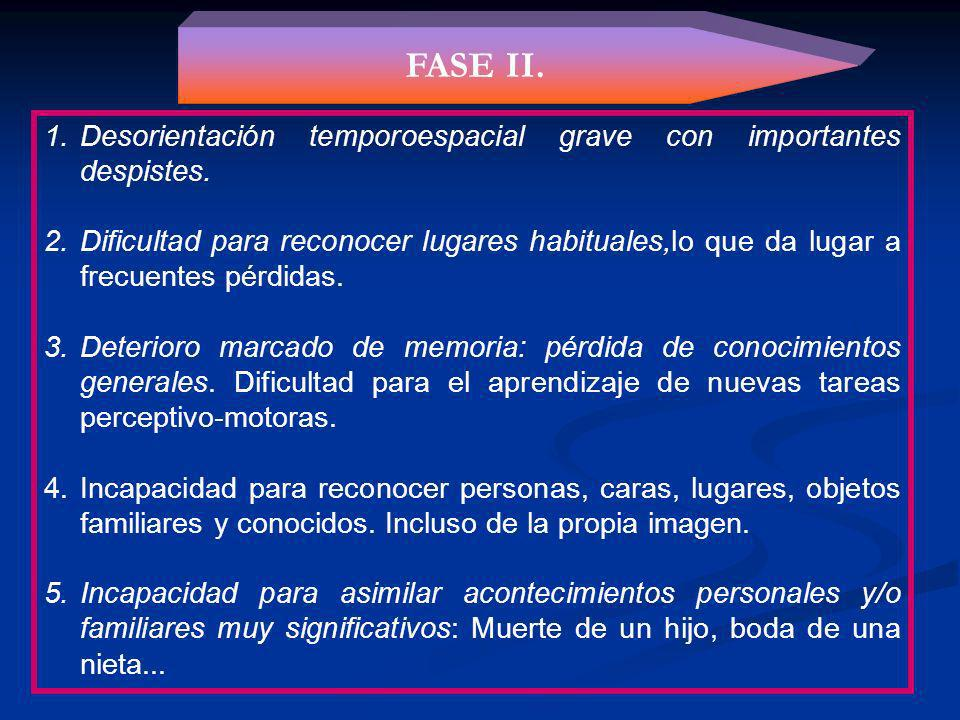 FASE II. Desorientación temporoespacial grave con importantes despistes.