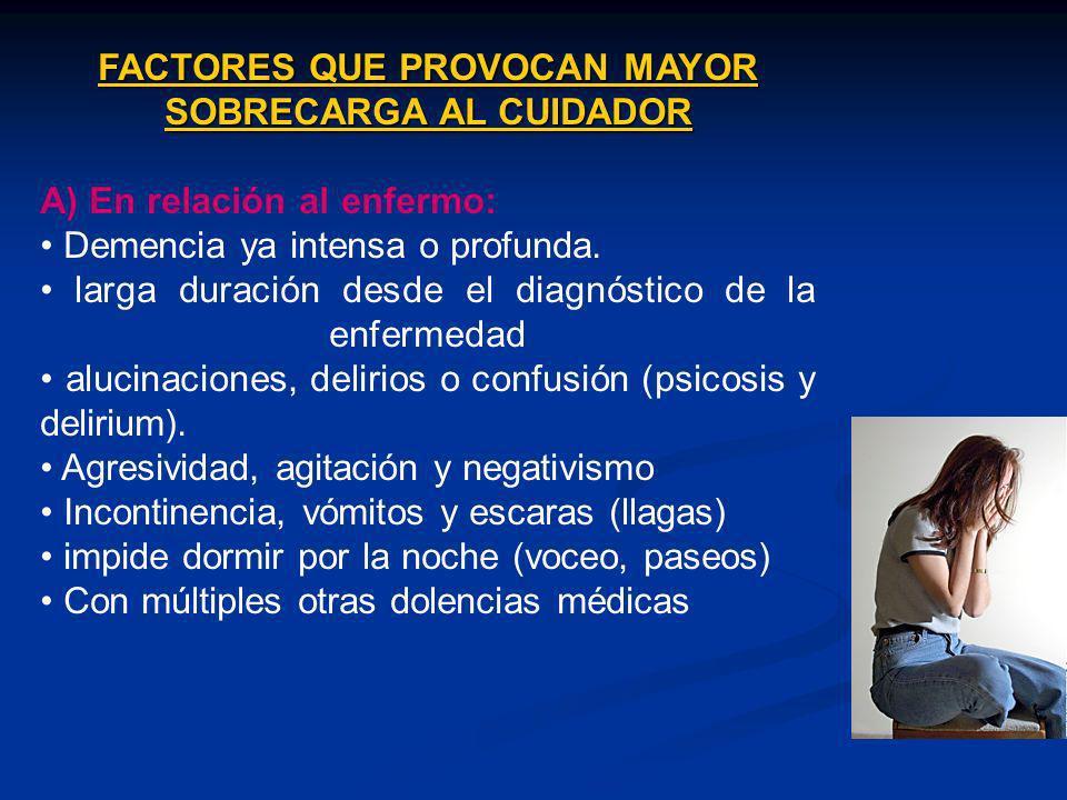 FACTORES QUE PROVOCAN MAYOR SOBRECARGA AL CUIDADOR