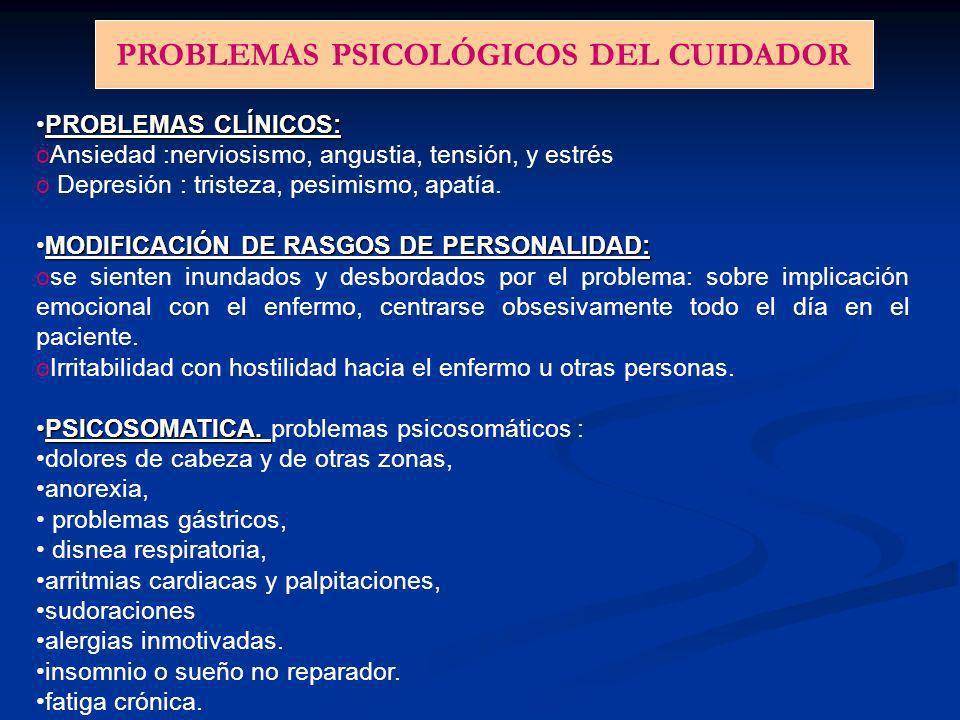 PROBLEMAS PSICOLÓGICOS DEL CUIDADOR