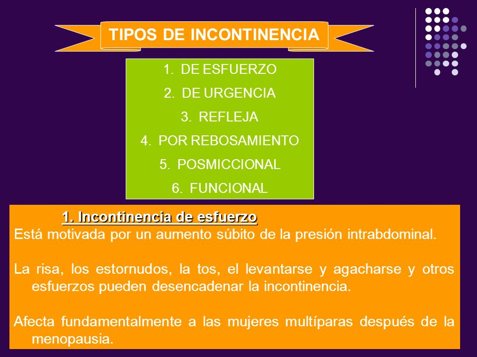 TIPOS DE INCONTINENCIA