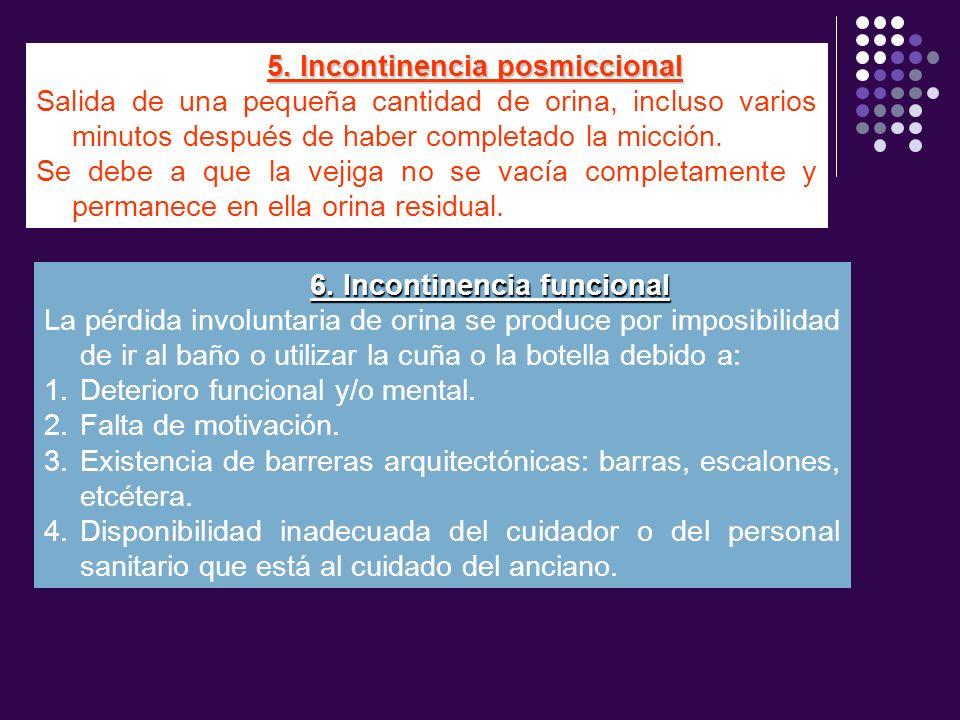 5. Incontinencia posmiccional 6. Incontinencia funcional