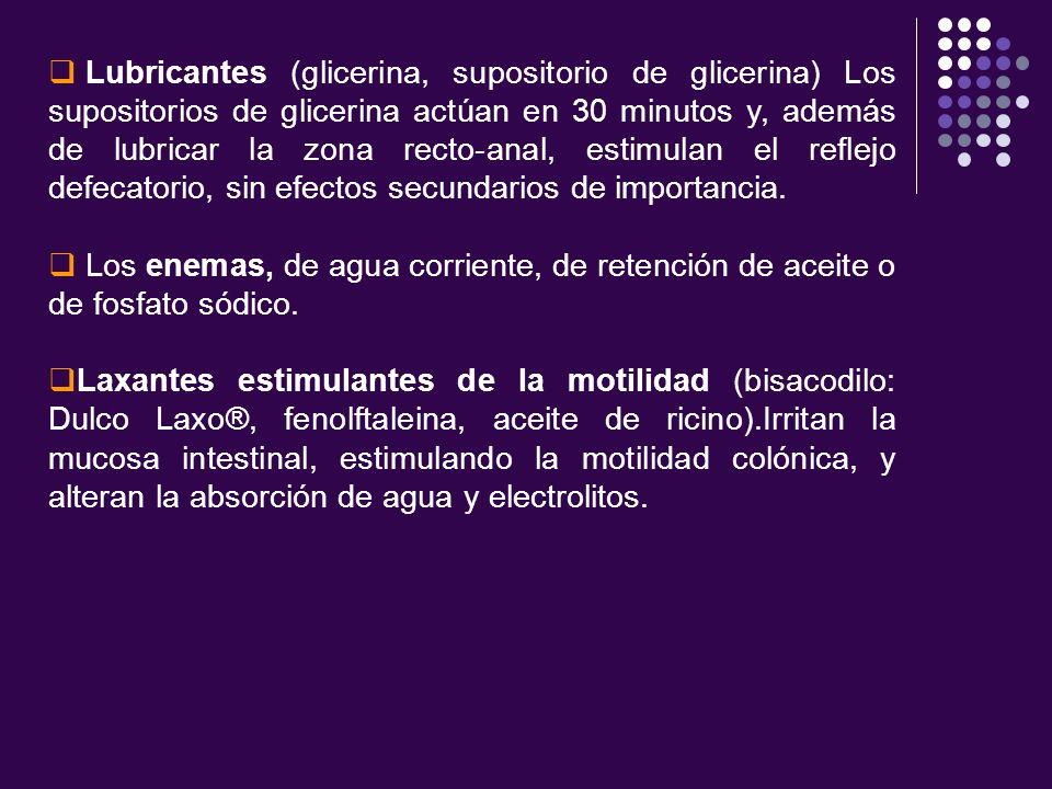Lubricantes (glicerina, supositorio de glicerina) Los supositorios de glicerina actúan en 30 minutos y, además de lubricar la zona recto-anal, estimulan el reflejo defecatorio, sin efectos secundarios de importancia.