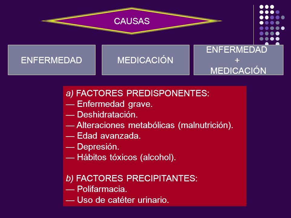 CAUSASENFERMEDAD. MEDICACIÓN. ENFERMEDAD. + MEDICACIÓN. a) FACTORES PREDISPONENTES: — Enfermedad grave.