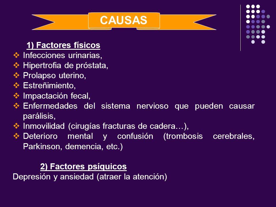 CAUSAS 1) Factores físicos Infecciones urinarias,