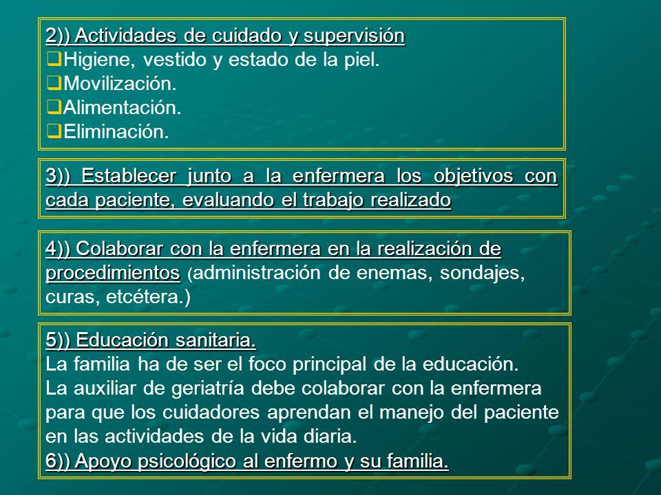2)) Actividades de cuidado y supervisión