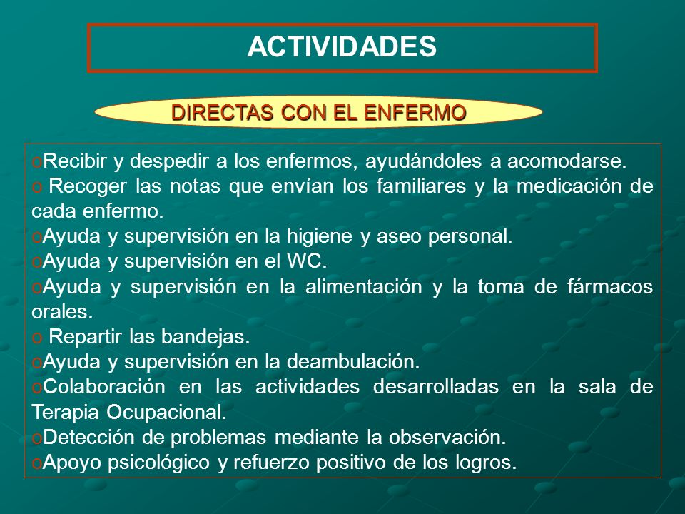 DIRECTAS CON EL ENFERMO