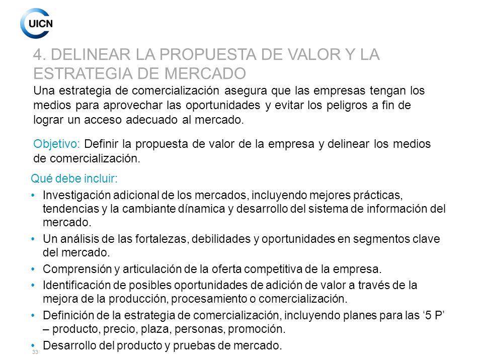 4. DELINEAR LA PROPUESTA DE VALOR Y LA ESTRATEGIA DE MERCADO