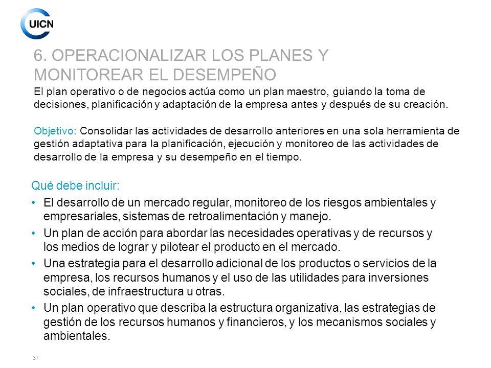 6. OPERACIONALIZAR LOS PLANES Y MONITOREAR EL DESEMPEÑO