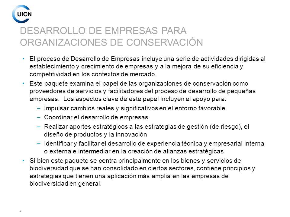 DESARROLLO DE EMPRESAS PARA ORGANIZACIONES DE CONSERVACIÓN