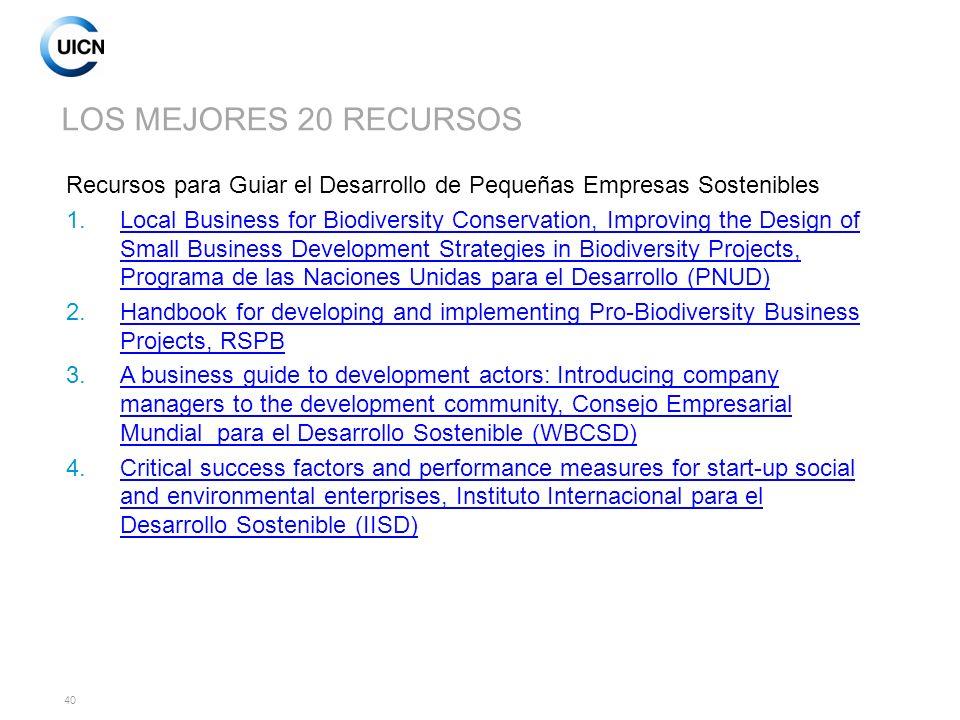 LOS MEJORES 20 RECURSOS Recursos para Guiar el Desarrollo de Pequeñas Empresas Sostenibles.