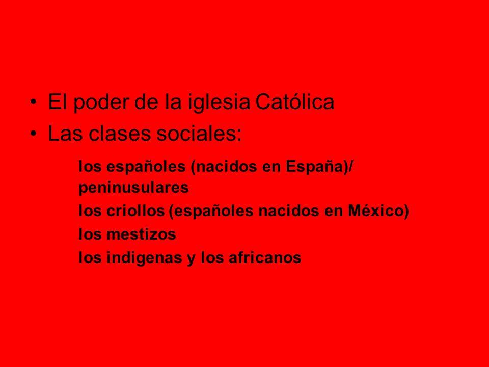 El poder de la iglesia Católica Las clases sociales:
