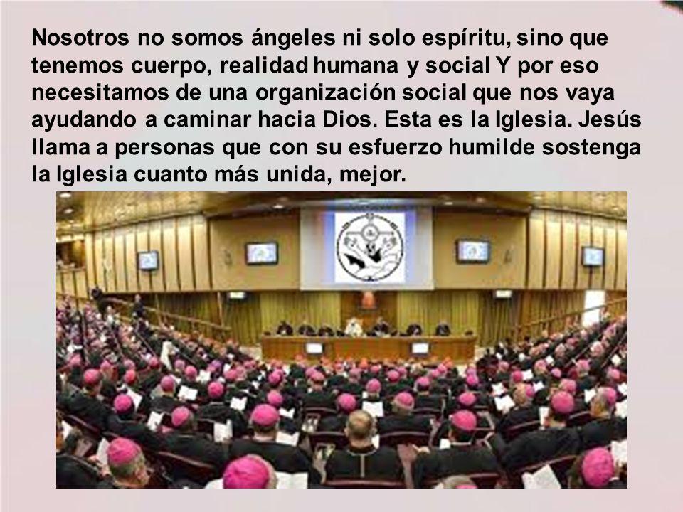 Nosotros no somos ángeles ni solo espíritu, sino que tenemos cuerpo, realidad humana y social Y por eso necesitamos de una organización social que nos vaya ayudando a caminar hacia Dios.