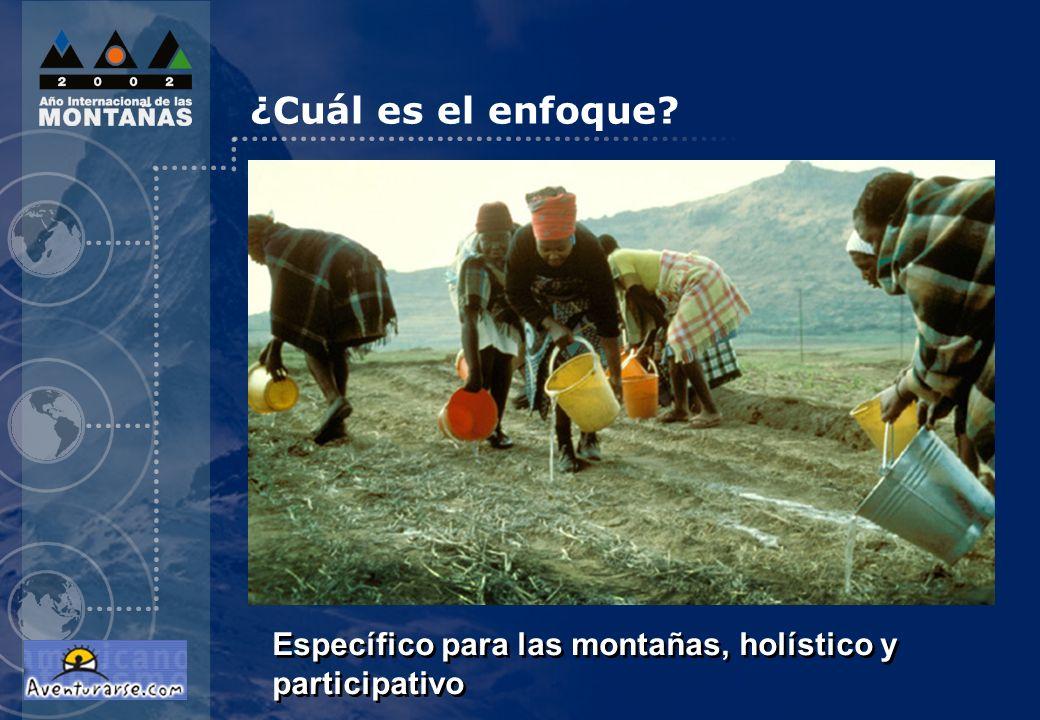 ¿Cuál es el enfoque diapositiva 12. ¿CUÁL ES EL ENFOQUE Específico para las montañas, holístico y participativo.