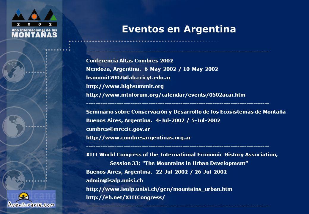 Eventos en Argentina--------------------------------------------------------------------------------