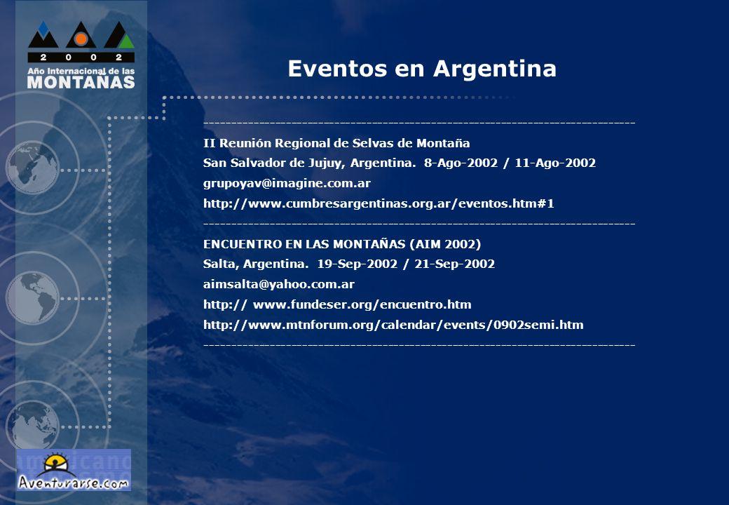 Eventos en Argentina --------------------------------------------------------------------------------