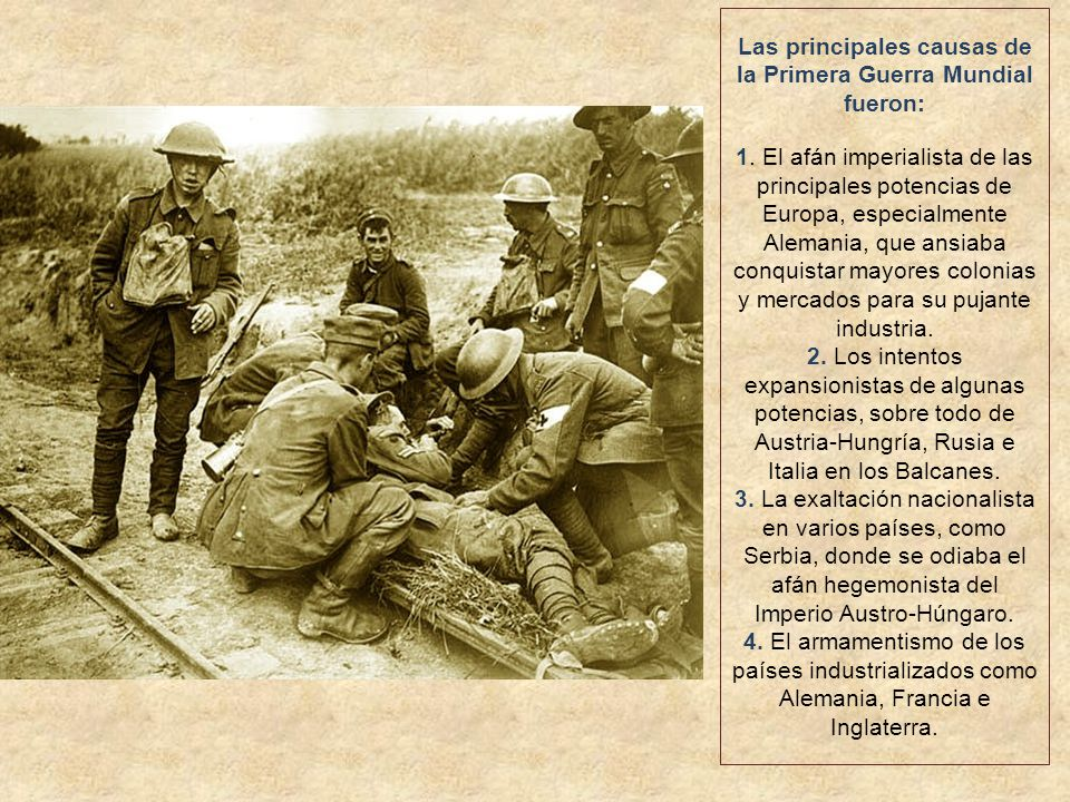 Las principales causas de la Primera Guerra Mundial fueron: 1