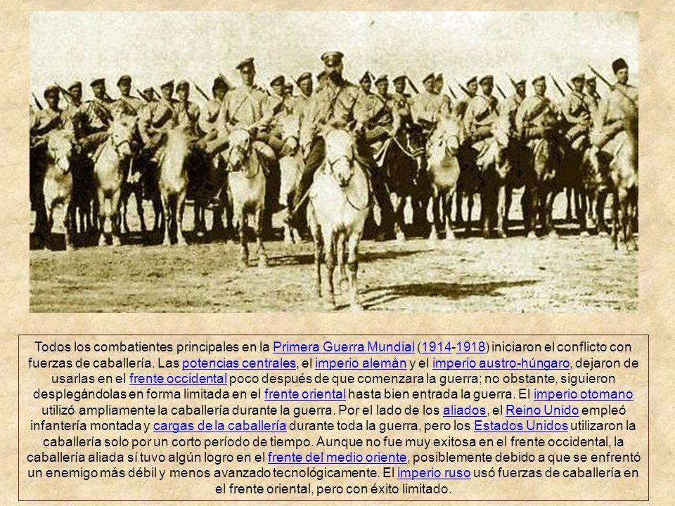 Todos los combatientes principales en la Primera Guerra Mundial (1914-1918) iniciaron el conflicto con fuerzas de caballería.