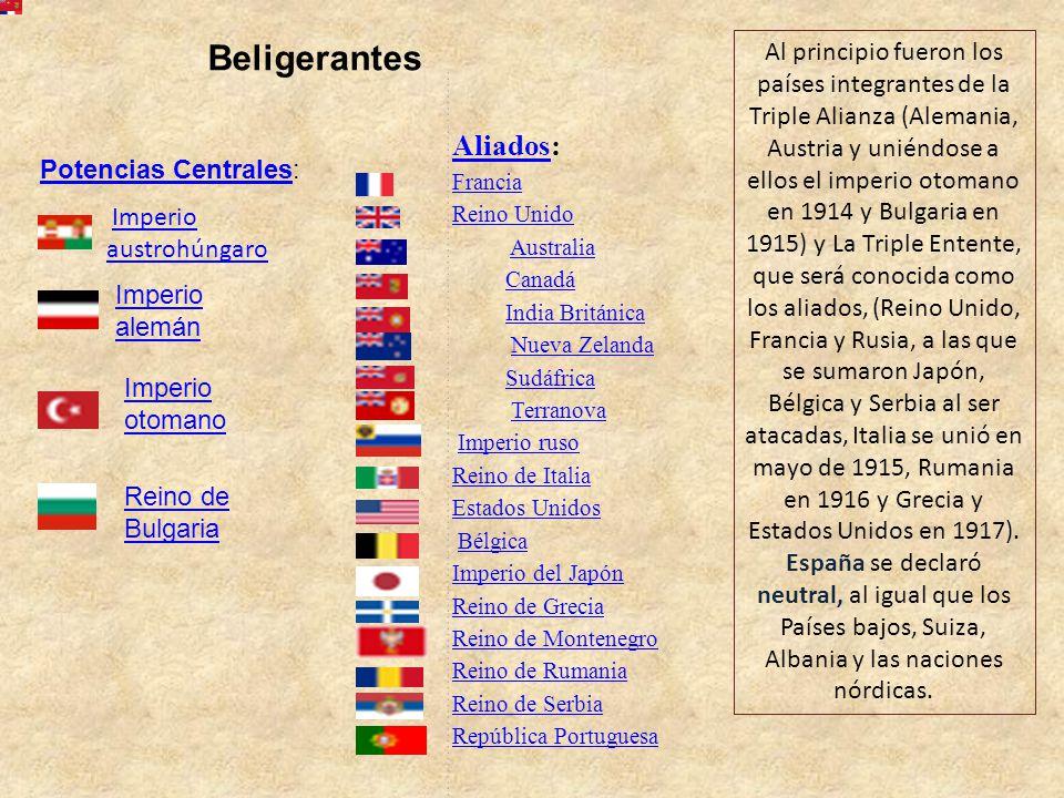 Beligerantes Aliados: Francia Reino Unido