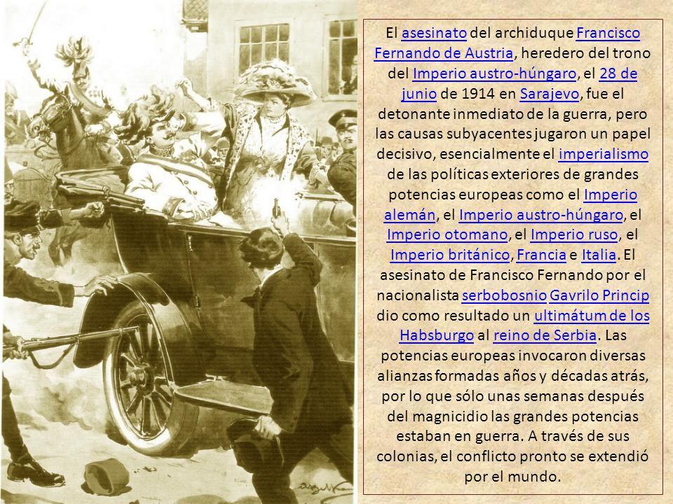 El asesinato del archiduque Francisco Fernando de Austria, heredero del trono del Imperio austro-húngaro, el 28 de junio de 1914 en Sarajevo, fue el detonante inmediato de la guerra, pero las causas subyacentes jugaron un papel decisivo, esencialmente el imperialismo de las políticas exteriores de grandes potencias europeas como el Imperio alemán, el Imperio austro-húngaro, el Imperio otomano, el Imperio ruso, el Imperio británico, Francia e Italia.