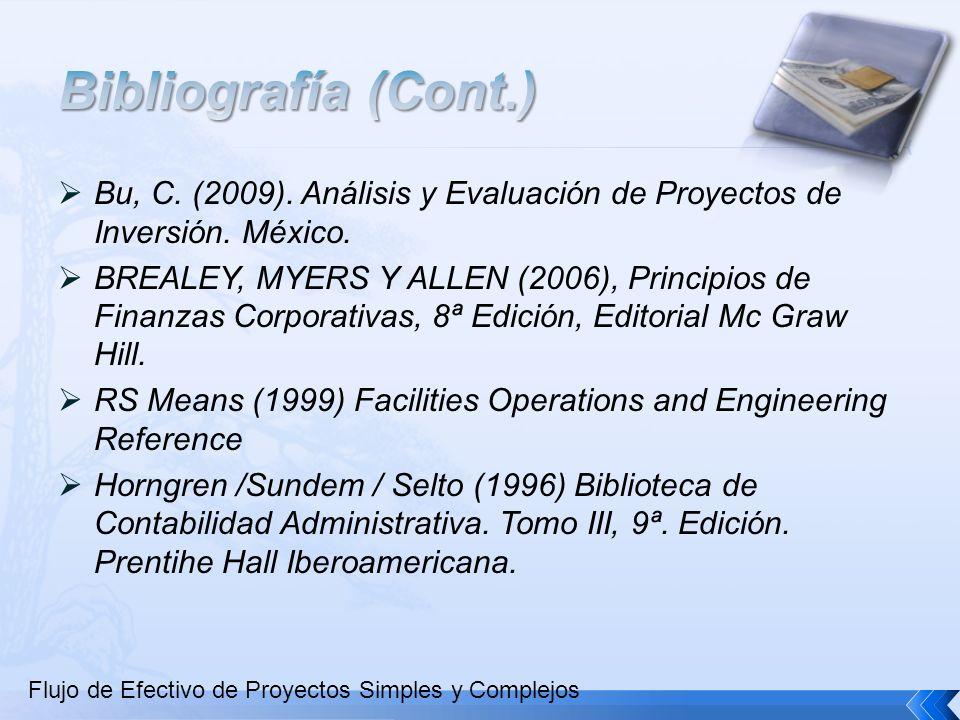 Bibliografía (Cont.) Bu, C. (2009). Análisis y Evaluación de Proyectos de Inversión. México.