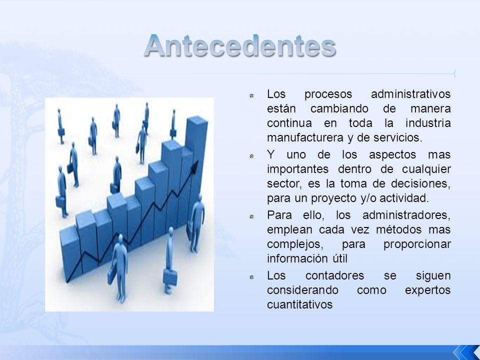 Antecedentes Los procesos administrativos están cambiando de manera continua en toda la industria manufacturera y de servicios.