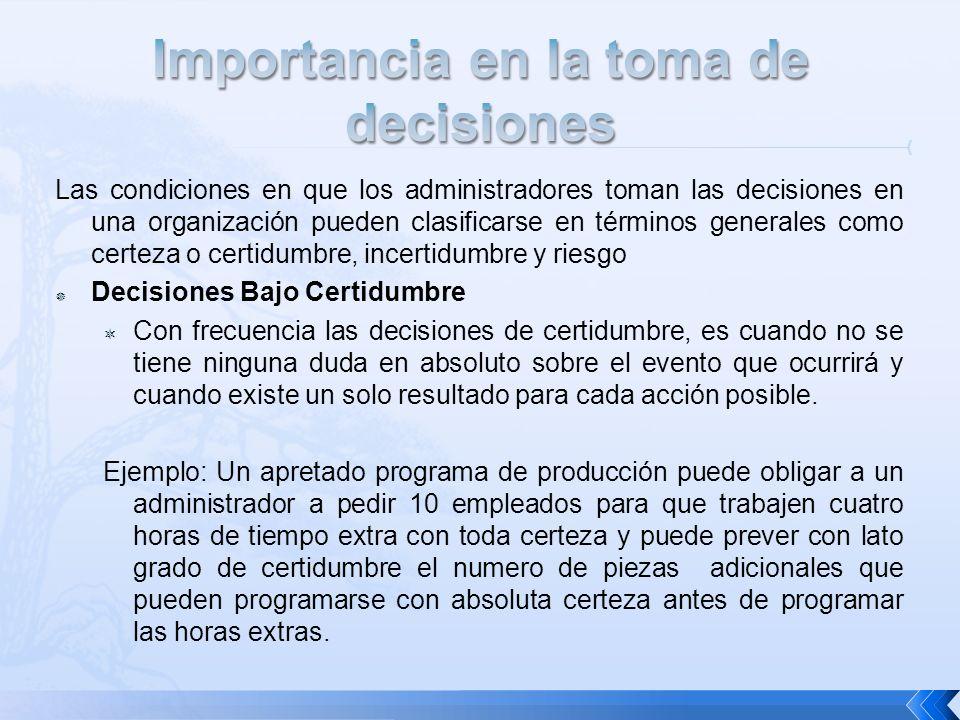 Importancia en la toma de decisiones
