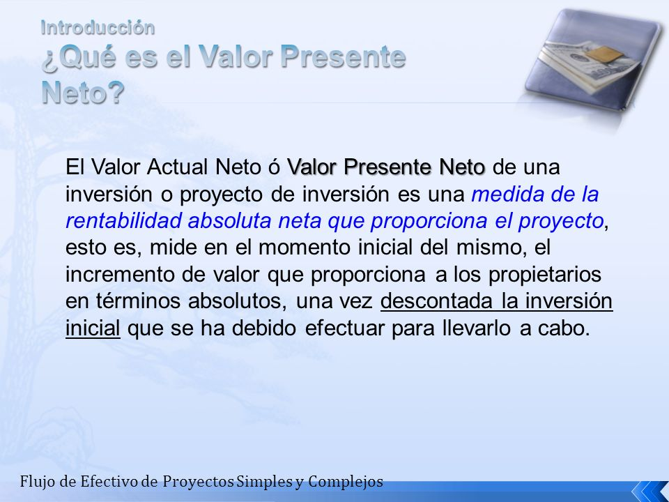Introducción ¿Qué es el Valor Presente Neto