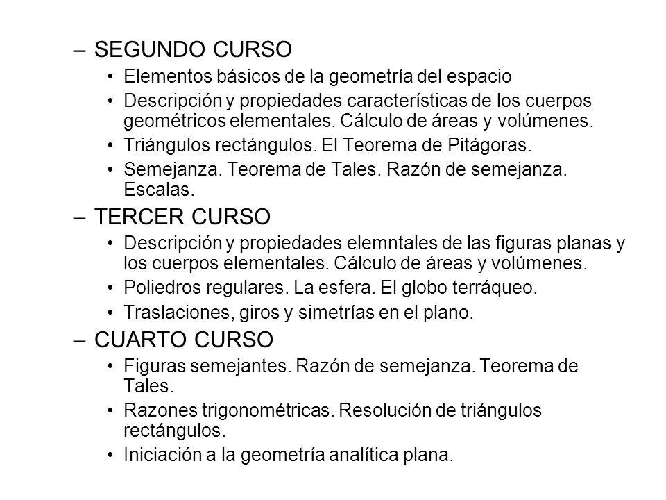 SEGUNDO CURSO TERCER CURSO CUARTO CURSO