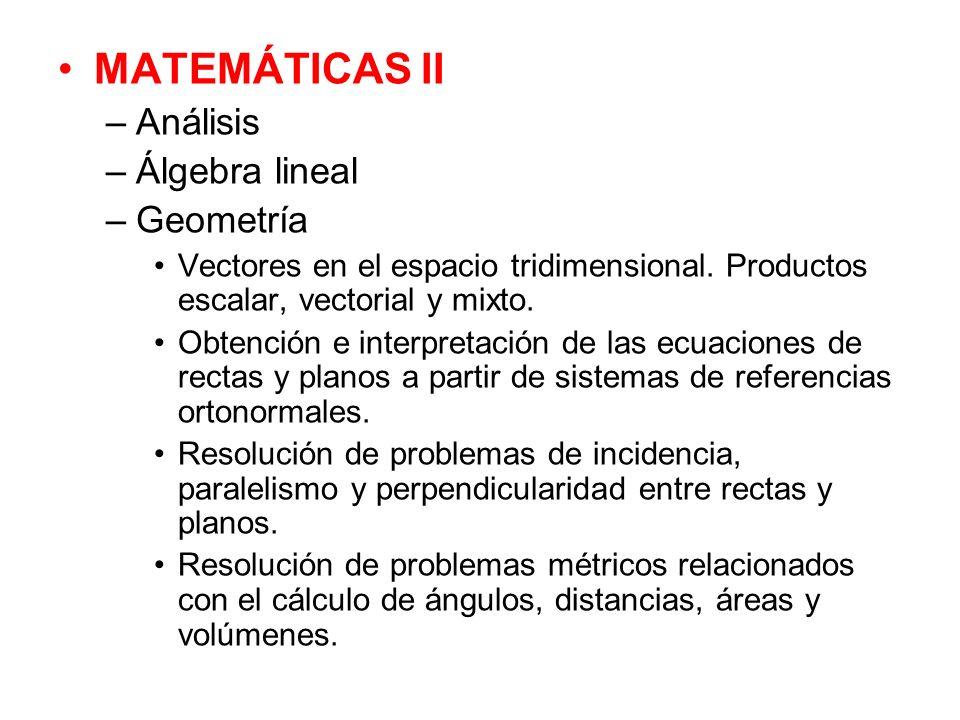 MATEMÁTICAS II Análisis Álgebra lineal Geometría