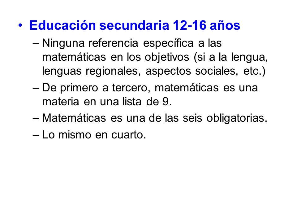 Educación secundaria 12-16 años