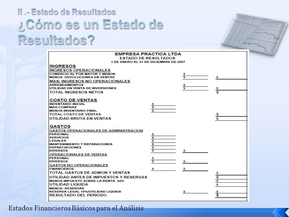 II .- Estado de Resultados ¿Cómo es un Estado de Resultados