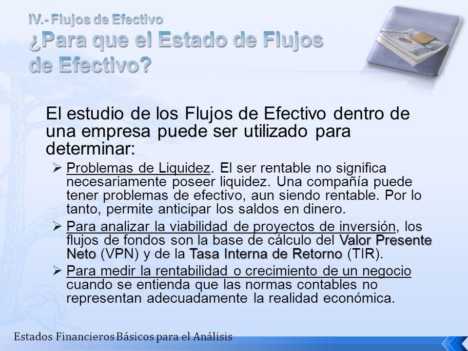 IV.- Flujos de Efectivo ¿Para que el Estado de Flujos de Efectivo
