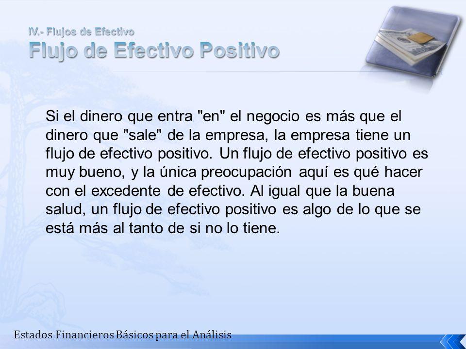 IV.- Flujos de Efectivo Flujo de Efectivo Positivo