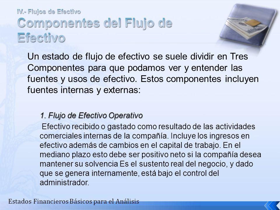 IV.- Flujos de Efectivo Componentes del Flujo de Efectivo